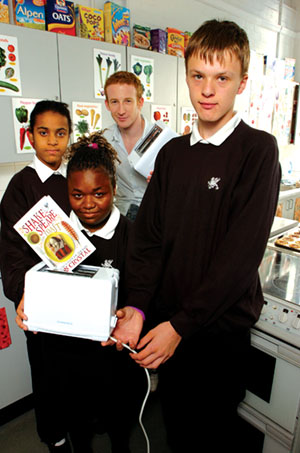 Ben at the back with, from left, Samantha Cregan, 15, Charlene George, 15 and Shane Dickens, 13